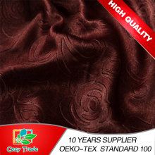 Faux Seda, Tela de lujo 100% de cortina de apagón plana, relieve, impresión