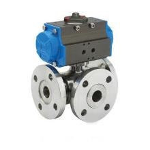 Tipo de pistón Pneumatic L Port Válvula de bola de tres vías (GZSHL)