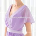 Vestidos de dama de honor de las bodas al por mayor baratos Vestido de noche largo maxi con cuello en V púrpura