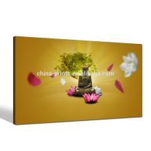 Религия Будда Холст Art / Холст лотоса Печать для гостиной / Lucky Tree Wall Art Office Decor