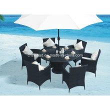 Wicker Esstisch für Outdoor, Indoor mit 6 Stühlen / SGS (8214)