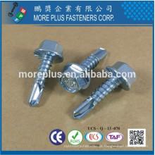 Fabricado em Taiwan IND Hex Washer Serrated # 3 Point Case Harden Head Self Drilling Screw