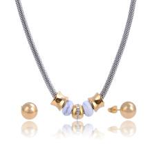 Fantaisie Party Network chaîne cristal Turquoise perle bijoux Set collier d'oreille