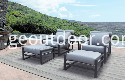 P S0278 Powder Coating Aluminum Sofa Set