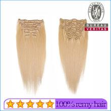 100% Brazilian Human Virgin Hair 613# Blond Color Clip Hair Extensions Remy Hair