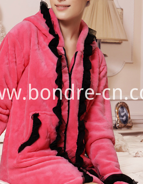 Women's Coral Fleece Dress With Hood BP23-11 01