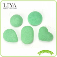 100% natural green tea konjac sponge for washing face