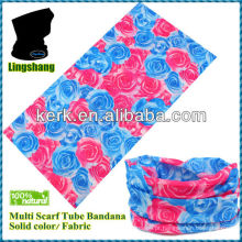 LSB125 Ningbo 100% poliéster cachecol multubo bandana sem costura para cabelo