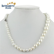 Sea Shell Pearl Necklace 8-12mm Graduated Cheap White Pearl Necklace