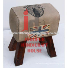 Industrial & Vintage Wooden Canvas Ottomans 3 Legs Stool