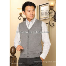 men's 100% cachemire knitting sleevesless vest cardigan