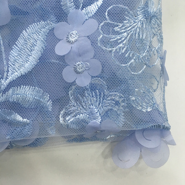 3D Chiffon Laser Cut Embroidery Fabric For Party