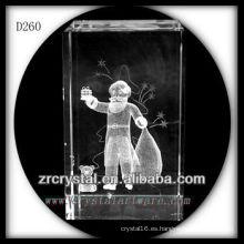 K9 3D grabados en madera regalo de Navidad dentro de rectángulo de cristal