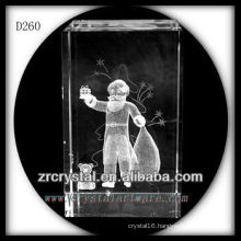 K9 3D Etched Christmas Gifts Inside Crystal Rectangle