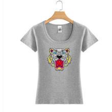 Tiger Logo Impressão Moda Feminina Atacado Custom Cotton T Shirt