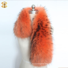 Dyed Large Raccoon Collar Fur Trim for Winter Coat Parka