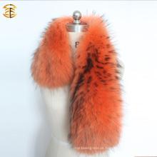 Tricotado de pele de colar de guaxinim grande tingida para casaco de inverno Parka