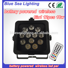 Drahtloses DMX LED flaches Par 12 PC 18w RGBAW UV 6in1 LED Batterie par Licht