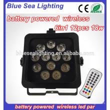 Sem fio DMX LED Par Par 12 Pcs 18w RGBAW UV 6in1 LED Bateria par luz