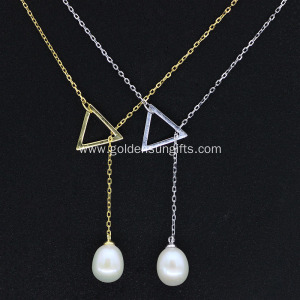 925 Sterling Silver Drop Pearl Pendant Necklace