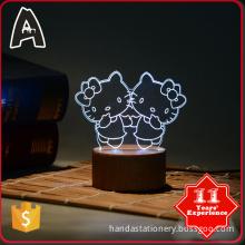 Fashion design Indoor lighting Table Pretty cat colorful 3d light lamp deco acrylic night light