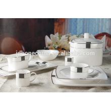 Quadrado, forma, eco-friendly, novo, osso, china, prato, café, jogo