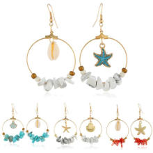 China Factory Price Beach Shell Dangle Hoop Earrings Temperament Natural Stone Pendant Earrings