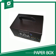 Black Matt Printed Cardboard Box with Handle