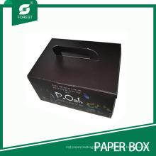Черный матовый напечатанная картонная коробка с ручкой