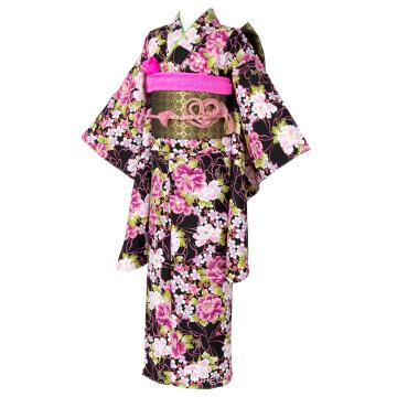 Polyester Blumen Muster Zwei Fuß Ärmel Schwarz Kimono
