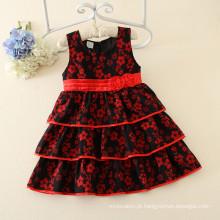 Padrão de flor de ameixa preço atacadista meninas plissado vestidos de festa para meninas de 10 anos kid party dresses