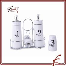 Cerámica sal pimienta agitador aceite y vinagre conjunto de botellas al por mayor