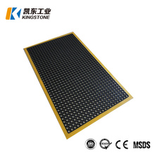 Good Price Black with Yellow Deges Drainage Anti Slip Warn Safety Reduce Fatige Rubber Mat with Holes