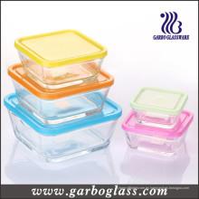 5PCS cuadrado Bowl de cristal conjunto con diferentes tapas de color (GB1409)