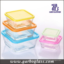 5PCS Square Glass Bowl Set with Different Color Lids (GB1409)
