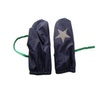 Solid Blue Star Fleece Lining PU Rain Mitten for Baby/Child