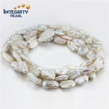 Collier de perle biwa de 13-15mm Collier de perles blanches