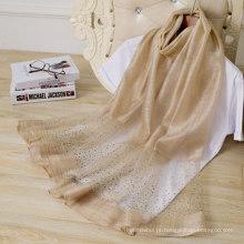 Best selling women plain barato cachecol cachecol mistura xale com strass