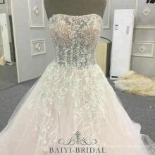 Chine Robe de mariée 2018 luxe sans manches en dentelle Appliques robe de bal Patterns Noiva Vestidos