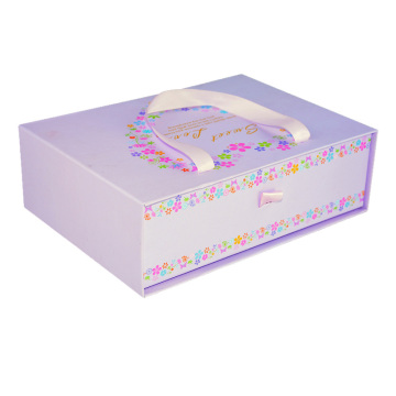 Paper Sliding Rigid Gift Box with Ribbon Handle