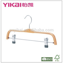 Wholesale flat skirt laminated clothes hanger with metal clips
