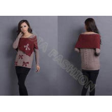 Red Bow Womens Pullover Sweaters Crew Neck , Jacquard sweat