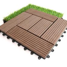 Outdoor Interlock WPC Floor Hollow Tile Deck 300 X 300 X 22 mm Wood Fiber+HDPE Engineered Flooring DIY Waterproof Composite Tile