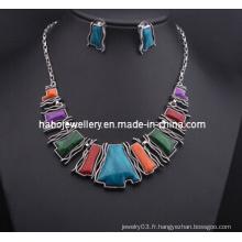 Ensemble de bijoux en pierre carrée / ensemble de collier de mode (XJW13210)