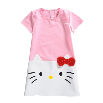 Lovely 3-8 Year Old Girl Cat Printed Casual Dress Baby Girl Frocks