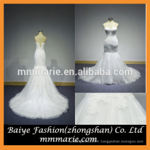 2016 Mermaid Backless Broderie Robe de mariée Beading Top Sweep Train Robe de mariée en dentelle