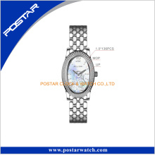 Mop Shell Dial Diamante Polished Bezel Lady Wrist Watch