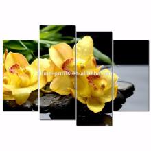 Schmetterlings-Orchideen-Blumen-Segeltuch-Druck / Zen-Basalt-Steine Segeltuch-Wand-Kunst / Hauptdekoration-Blumen-Wand-Kunst