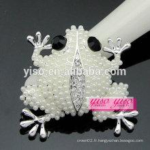 Luxe vente à la mode perle frog broche en cristal de strass