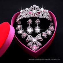 Conjuntos de jóias em forma de arco de cristal para uso nupcial de festa de casamento (colar + brinco + coroa) Conjuntos de colar F29095